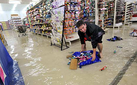 Flood water at Crazy Clarks in Coffs Harbour.
