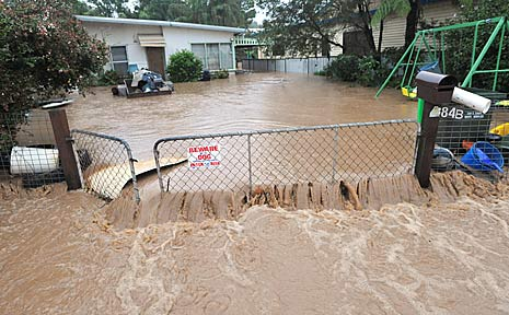 Gundagai St in Coffs Harbour was turned into a rushing river.