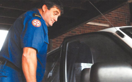 Grafton paramedic Peter Maxwell was shocked to find his car had been burgled for the second time in a month, after working a 14-hour shift helping with the Coffs Harbour flood disaster.