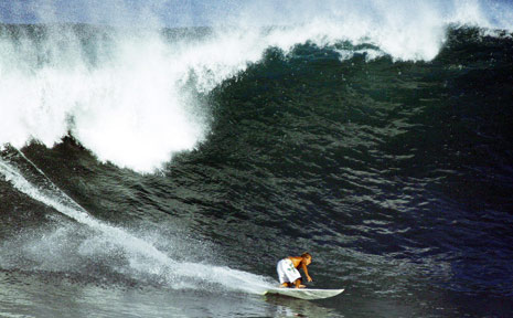 An unknown surfer took on this big left-hander on Tuesday afternoon at Hastings Point.