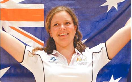 Gabrielle King celebrates her youth sailing world championship win last year.