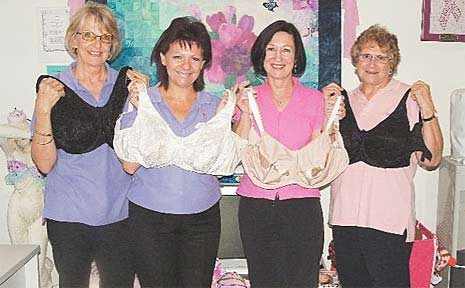 Robyne Chick, Annette Lorimer, Katy Edwards and Margaret Sapleton collect bras for Uplift, a Rotary International World Community Service project.