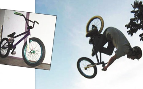 Wyatt Conroy does a 360 on his BMX before it was stolen. INSET: The stolen bike.