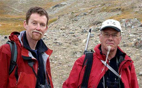 Ship's doctor Giles Taylor (right) with chef Brendan Downer in Greenland.