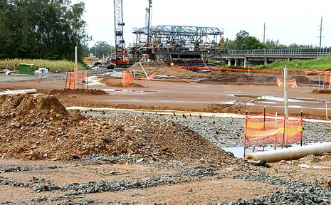 RAIN DELAYS: Muddy conditions have delayed construction on the Ballina bypass for the past fortnight.