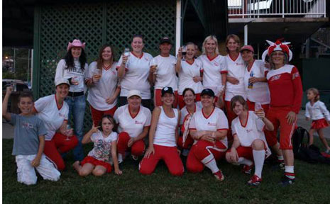 Byron Bay's Redsox and Whitesox teams pictured on grand final day. Back row: Ally Lycenko, Rani Lindquist, Nicole Burrows, Di West, Sarah Knapp, Deb Bond. Annalies Melene, Lyn King, Helen Thurgood. Front row: Griffin and Kerrie Northcott, Isis Lindquist, Tracey Johnson, Jess Bond, Shannon Knapp, Simmone Reaney, Freya Lindquis.