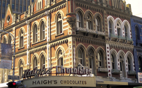 Beehive Corner shows off Adelaide's stunning architecture and it's home to Haigh's Chocolate.
