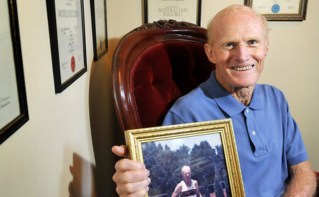 Toowoomba runner Alan Bradford relaxing at home this week after being inducted as an inaugural member of the Australian Masters Athletics Hall of Fame.