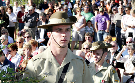 Private Job Chimello was among members of the Royal Australian Army who stood guard at the Pottsville Service.