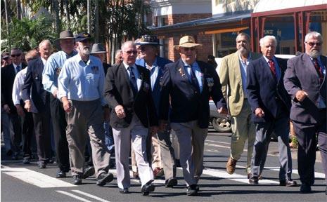 The Mullumbimby parade makes its way down Burringbar Street.