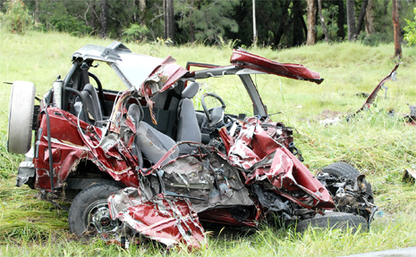 THE mangled four-wheel-drive in which a 51-year-old man died in a three-vehicle crash on the Peak Downs Highway near Nebo on February 11. The driver of the four-wheel drive was killed when his vehicle and a fuel tanker collided head-on. A ute then collided with the wreckage.