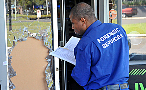 Smash and grab . . .  a forensics officer searches for clues at yesterday's bizarre break-in.