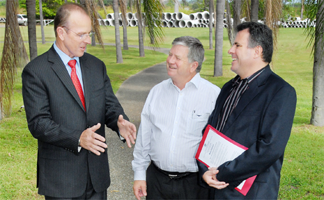 MINISTER for Human Services Joe Ludwig, Mackay Regional Council Mayor Col Meng and Member for Dawson, James Bidgood, put their best foot forward along Mackay's Bluewater Trail.