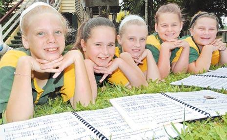 Swayneville State School students Zahna Jones, 10, Zoe Davidson, 9, Reilly Bollard, 9, Bridget Matton, 11, and Olivia Bollard, 10, will join other students from around Queensland to participate in Creative Generation - State Schools Onstage.
