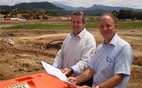 Riva Vue project manager Shaun Nicholson and marketing agent Lance Cotterill.
