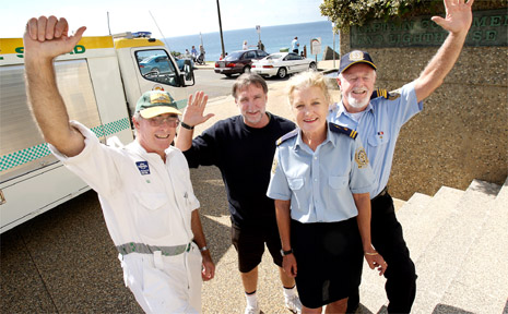 Male Pearse (Tweed Rescue Squad) and Volunteer Marine Rescue members Rick Snow, Kathryn Duerinckx and Bernie Gabriel celebrate 40 years of service for their respective organisations.