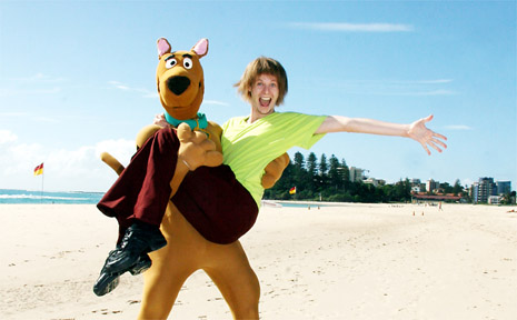 SCOOBY Doo and Shaggy took time out on Coolangatta Beach before performing on the Gold Coast.
