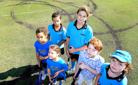 Casuarina Hockey Club players are not happy about hoons ruining their playing field.