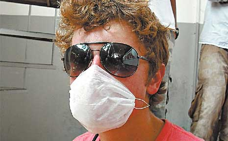 Ryan Williams was issued with a face mask as soon as his Rotary field trip group heard of the swine flu epidemic.