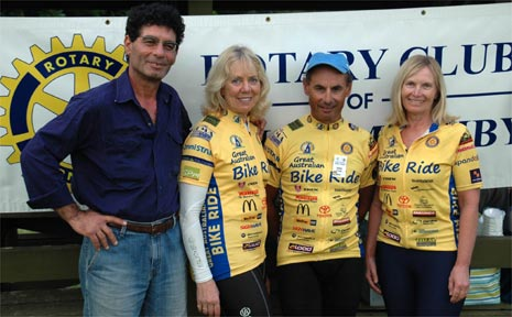 President of The Rotary Club of Mullumbimby David D'Vash with three of the four riders planning to circumnavigate Australia: (left to right) Roberta Gordon, John Farrugia and Gonny Rundell.