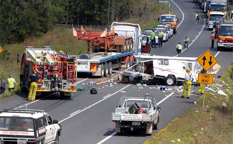 The scene of another crash on a 'horror' stretch of the Bruce Highway between Cooroy and Curra.