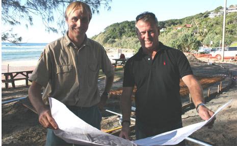 National Parks and Wildlife ranger, Sean Court, with Byron Bay Malibu Club secretary and head judge, Col McKenzie, at Wategos Beach.