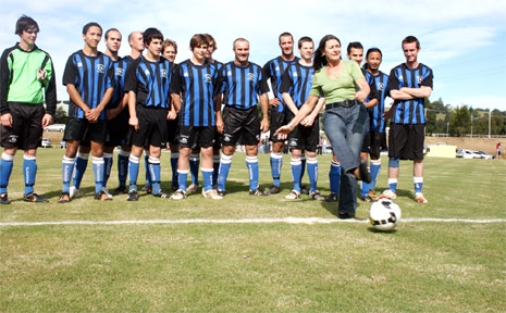 The opening on Saturday was performed by MLC Amanda Fazio, representing Sports Minister Kevin Greene, with mayor Cr Jan Barham (pictured) kicking off in the first soccer game on the new field between Bangalow and Byron Bay premier reserves sides.