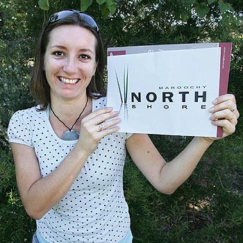 Designer Petta Dewson shows her winning logo. Photo: Mike Garry/scw1523b