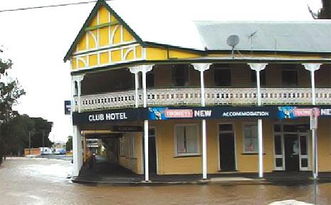 The Club Hotel at Coraki wa an island at midday on Saturday.