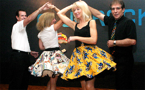 Dancing up a storm are ahead of Wintersun are Kelvin and Debbie Cutler with Annette and Keith Johns.