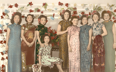 Staff of Tong's Store in Chinese dress for the China Day Appeal and parade in Murwillumbah in August 1943. Left to right: Thelma Mee Lee, May Sue, Olga Lock Lee, Rita Tong, Mavis Mapp, Nancy Sutton, Eadie Jack, June Dwyer, Daphne Innes.