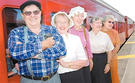 Ian and Carolyn Scott, left, Jenny Boswood, Maisie Ruddell and Norma Lang enjoyed a trip down memory lane on yesterday morning's Q150 train to Marian.