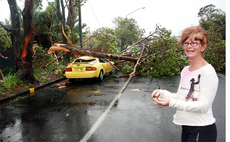 Robyn Buckland and her Toyota Celica flattened by a large branch last Thursday morning in Browning Street, Byron Bay. PHOTO: Gary Chigwidden.