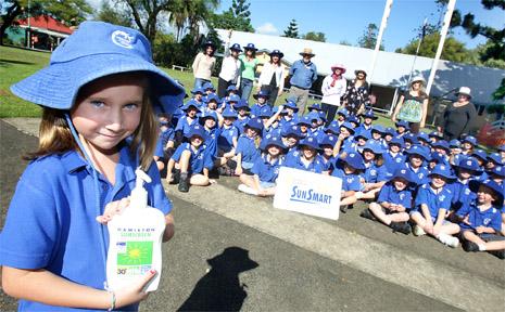 Condong Public School student Georgia Felton shows why she is Sun Smart.