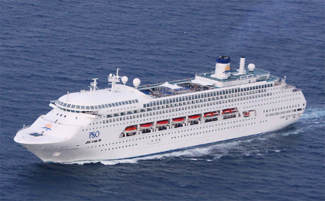 P&O; cruise ship Pacific Dawn made an unscheduled mercy stop at Airlie Beach yesterday so a child with a severely broken arm could receive emergency treatment. The ship, carrying three crew members with swine flu, is on its way to Brisbane.