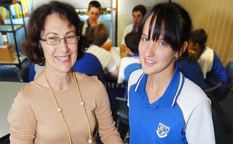 Mackay North State High School eLearning teacher Sue Ilich and Year 11 student Hannah Prouse look forward to 'Back to Mackay North State High School' on Thursday.