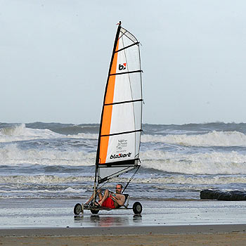 Blokart rider Keith Wines lets loose on the deserted and windy beach at Stumers Creek. Photo: Mike Garry/scw1533b