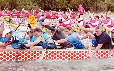 The Grafton Dragon Boat team (front) took out the Sporting Clubs final at the inaugural Mt Warning Dragon Boat Regatta on the Tweed River.