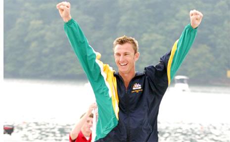 Nathan Baggaley paddling for Australia.