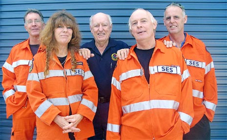 Some of the heroes of the recent weather emergency (left to right): Andrew Player, Hannah Grace, Noel McAviney, Ben Fawcett and Bruce Will.