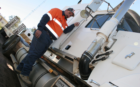 FUEL FRACAS: Moura truckie Owen Broadhurst is worried the removal of the fuel subsidy will cause many trucking businesses to go to the wall.. Picture by RUSSEL GUSE.