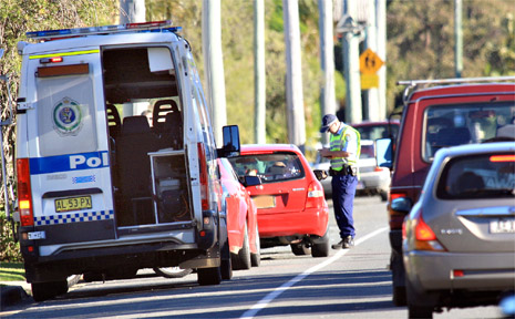 Police test motorists at an RBT in Ducat Street.