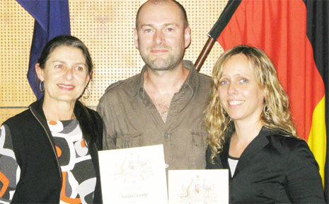 Mark Gasson is pictured with Mayor Cr Jan Barham and his partner Suzy Donovan at the citizenship ceremony.