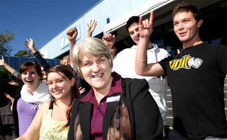Murwillumbah TAFE manager Marjorie Goward celebrates with students after receiving more government funding.