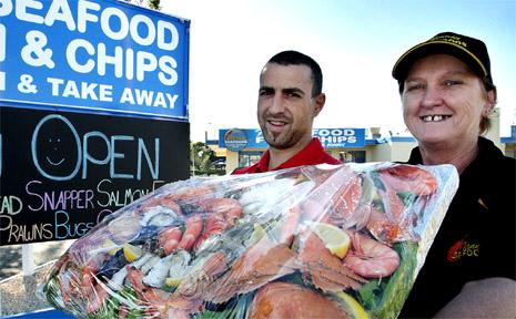 Joe Palmero and Sue Pryor from Mennitti Seafood.