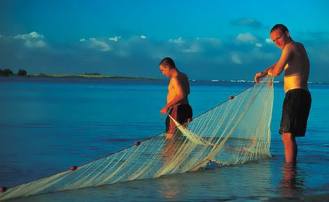 Fishermen tending nets.