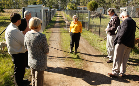 Happy Paws operator Sally Rogers talks to councillors at recent site inspection