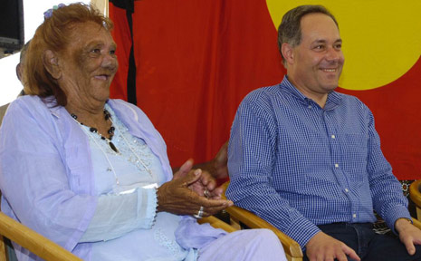 Bundjalung Arakwal elder Linda Vidler is pictured with former Premier of New South Wales Morris Iemma at the Cape Byron Lighthouse in February 2007 for an Indigenous Land Use Agreement celebration.