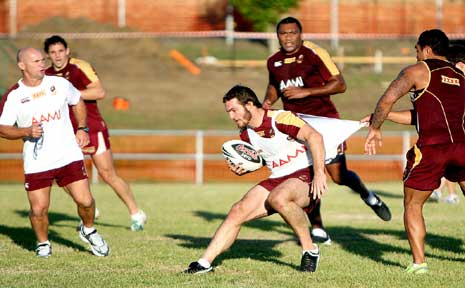 Queensland lock Dallas Johnson during a training session in Ipswich.