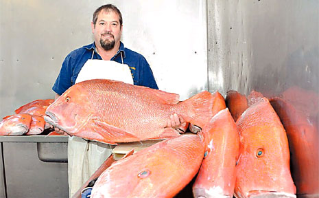 Bruce Pearce of Fisherman's Haul with some of the huge catch of red emperor.